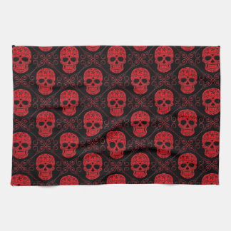 Red and Black Sugar Skull Pattern Hand Towel