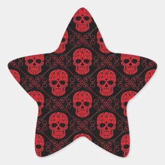 Red and Black Sugar Skull Pattern Star Sticker