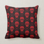 Red and Black Sugar Skull Pattern Throw Pillows