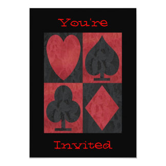 Red and Black Suits in Lace, Card
