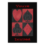 """Red and Black Suits in Lace, 5"""" X 7"""" Invitation Card"""