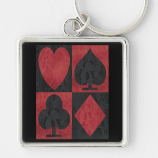 Red and Black Suits in Lace Keychains