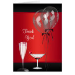 Red and Black Surprise Party Thank You Cards