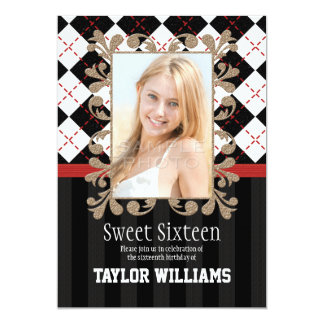 Red and Black Sweet 16 Invitations Argyle Preppy