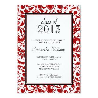 """Red and Black Swirl Damask Graduation Announcement 5"""" X 7"""" Invitation Card"""