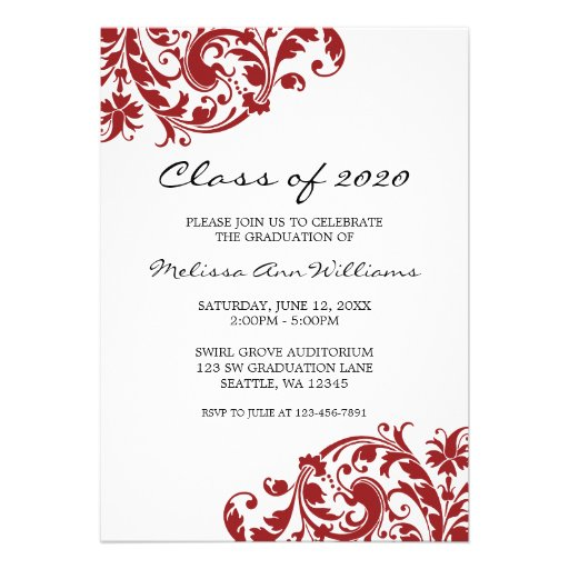 Red and Black Swirl Graduation Announcement (front side)