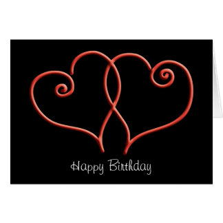 Red and Black Swirl Hearts Birthday Greeting Card