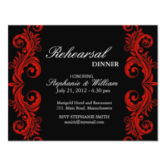 Red and Black Swirl Rehearsal Dinner Card