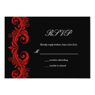 Red and Black Swirl Wedding RSVP 4.5x6.25 Paper Invitation Card