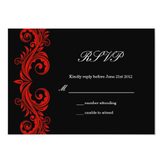 Red and Black Swirl Wedding RSVP Card