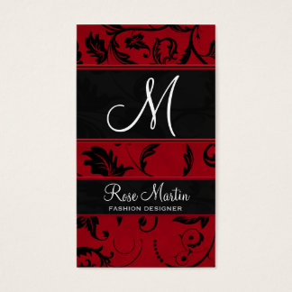 Red and Black Swirly Damask Monogram Business Card