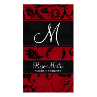 Red and Black Swirly Damask Monogram Double-Sided Standard Business Cards (Pack Of 100)