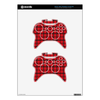 Red and Black Tartan Plaid Xbox 360 Controller Skins