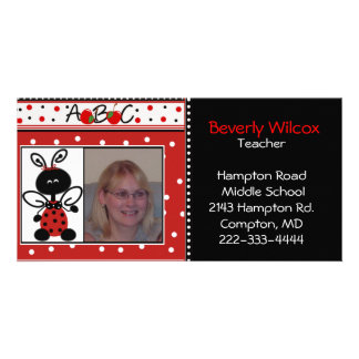 Red and Black Teachers Photo Business Card