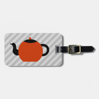 Red and black teapot design, on gray stripes. bag tag