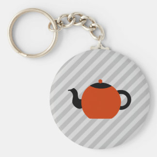 Red and black teapot design, on gray stripes. basic round button keychain