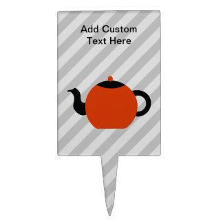 Red and black teapot design, on gray stripes. cake topper