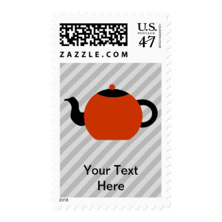 Red and black teapot design, on gray stripes. postage stamp
