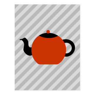 Red and black teapot design, on gray stripes. postcard