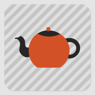 Red and black teapot design, on gray stripes. square sticker