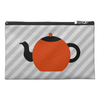 Red and black teapot design, on gray stripes. travel accessory bag