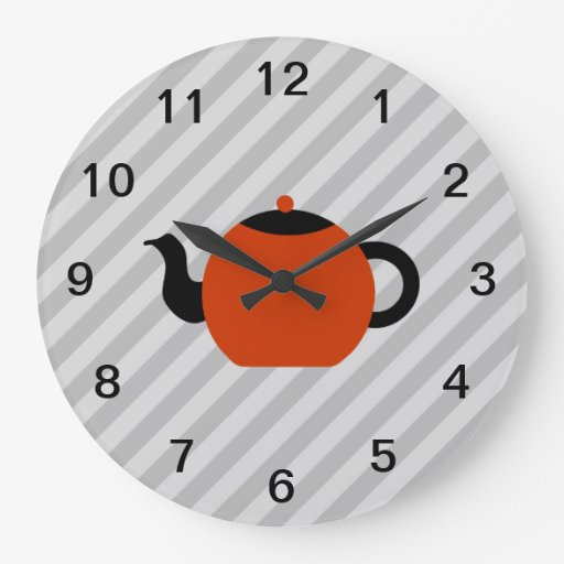 Red and black teapot design on gray stripes wall clock for Red and black wall clock