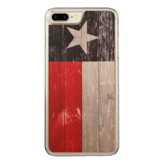 Red and Black Texas Flag Painted Old Wood Carved iPhone 7 Plus Case