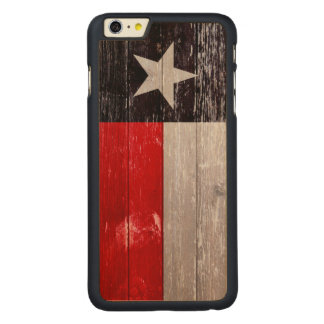 Red and Black Texas Flag Painted Old Wood Carved® Maple iPhone 6 Plus Case