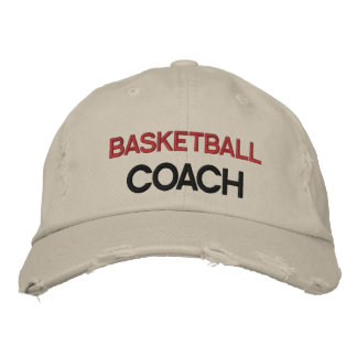 Red and Black Text Coach Customizable Hat Baseball Cap