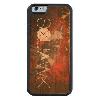 Red and Black Textured Bird on wood iphone case