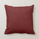 Red and Black Textured Houndstooth Pattern Pillow