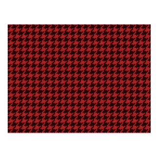 Red and Black Textured Houndstooth Pattern Postcard
