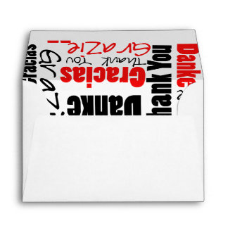 Red and Black Thank You Word Cloud Envelope