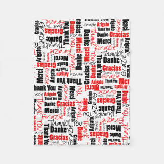 Red and Black Thank You Word Cloud Fleece Blanket