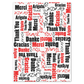 "Red and Black THANK YOU Word Collage 17"" X 23"" Tissue Paper"