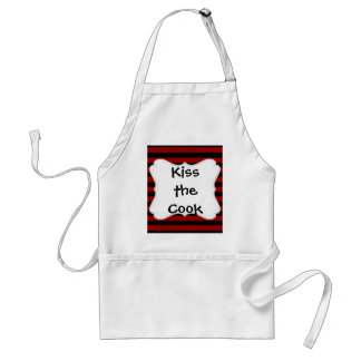 Red and Black Thick Striped Layer Pattern Adult Apron