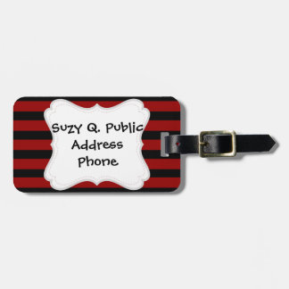 Red and Black Thick Striped Layer Pattern Luggage Tag