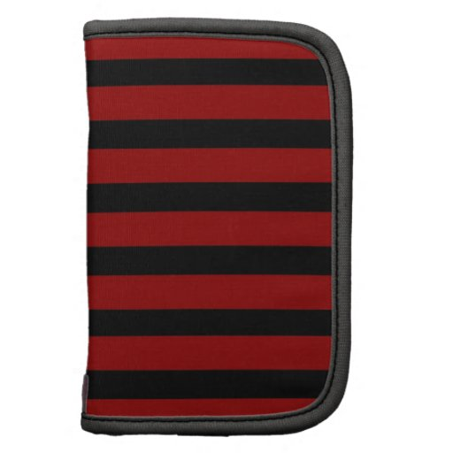 Red and Black Thick Striped Layer Pattern Folio Planners