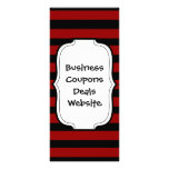 Red and Black Thick Striped Layer Pattern Personalized Rack Card