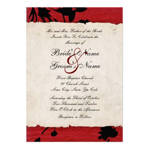 red and black torn paper wedding invitation 5 u0026quot  x 7 u0026quot  invitation card