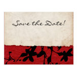 Red and Black Torn Paper Wedding Save The Date Postcard
