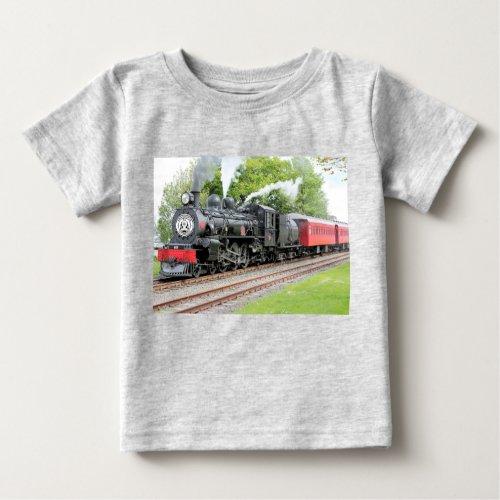 Red And Black Train Dark Grey Baby Boy  T_Shirt