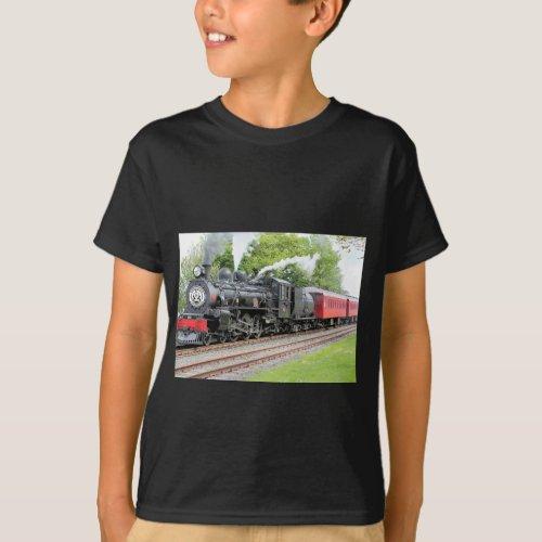 Red And Black Train Dark Grey Boys T_Shirt