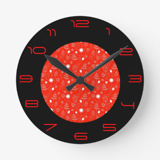 Red and Black>Trendy Patterned Clock
