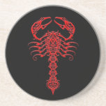 Red and Black Tribal Scorpion Beverage Coasters