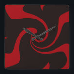 """Red and Black Twist Square Wall Clock<br><div class=""""desc"""">Modern red and black twist clock.</div>"""