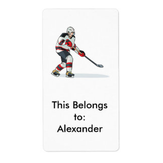red and black uniform ice hockey player label