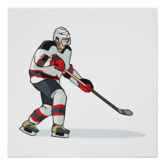 red and black uniform ice hockey player print