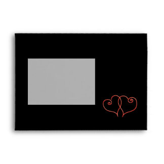 Red and Black Valentines Swirl Hearts Envelopes