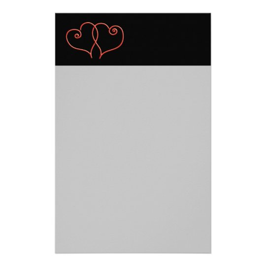 Red and Black Valentines Swirl Hearts Stationery
